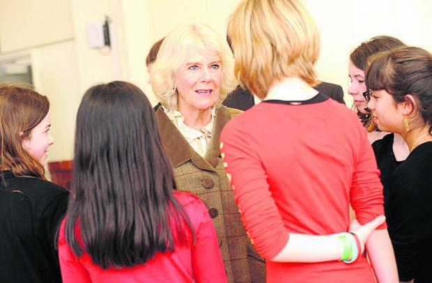 This Is Wiltshire: The Duchess of Cornwall meets young drama students during her visit to the Pound Arts Centre, Corsham, today