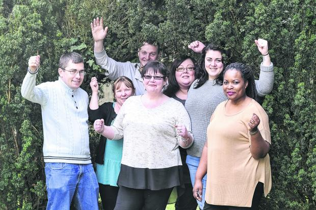 This Is Wiltshire: Pictured, left to right, are Michal Powierza, Julie Shield, Paul Smith, support workers, Sam Arnold, registered manager, Hayley Hasirci, deputy manager, Rachael Hall and Lisa Lungu, senior support workers