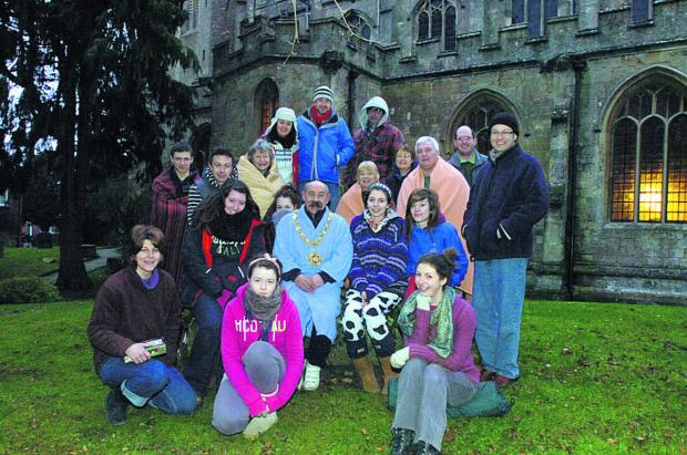 This Is Wiltshire: An earlier St Mary's Church sleepout, supported by Mayor Pete Smith, centre, in March 2011