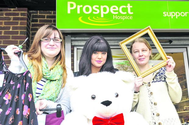 This Is Wiltshire: Prospect charity shop in Toothill is looking for more volunteers to help out in the shop. From left, volunteer Charlotte Markham, store manager Jodie Prescott  and assistant store manager Amy Bracey