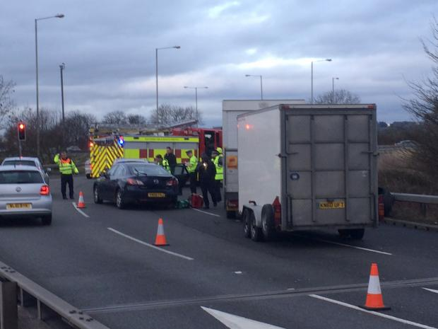 This Is Wiltshire: The scene of the accident on the junction of the A419 and J15 of the M4