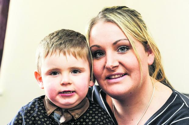 This Is Wiltshire: Jayden-Vito Mazzotta-Drapper with his mother Charlene Mazzotta. £35,000 is needed for surgery to help him walk
