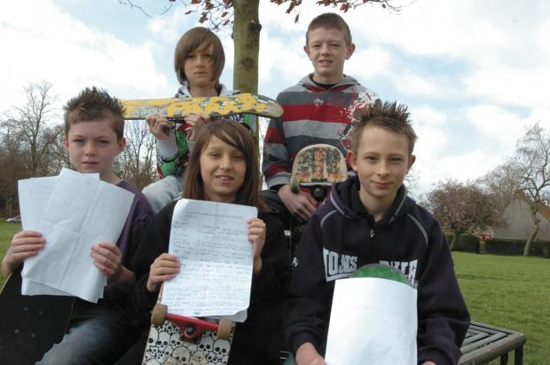 This Is Wiltshire: Youngsters campaigning for a skatepark in Devizes in 2009. Many of the original campaigners have now grown out of skateboarding.