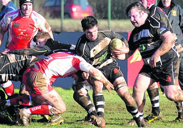 This Is Wiltshire: Chippenham's Tom Knight goes on the charge against Barnstaple last weekend
