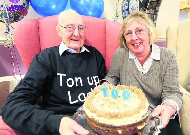 This Is Wiltshire: Jim Howard celebrates his 100th birthday with daughter Lynn Long      (VS177) PICTURE BY VICKY SCIPIO