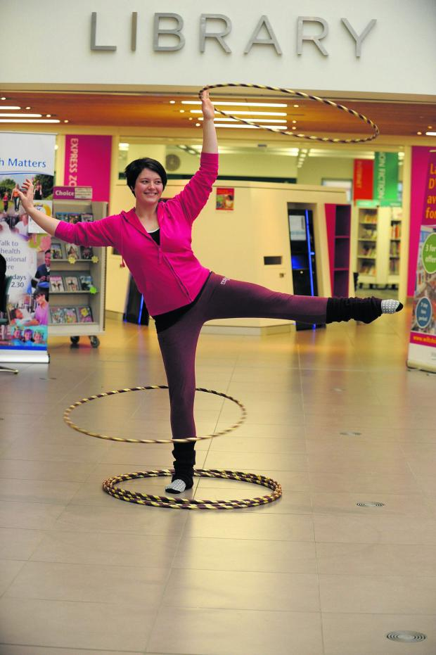 This Is Wiltshire: Ellie Cillebins of LA studio  demonstrated the fun people can have keeping fit using hula hoops
