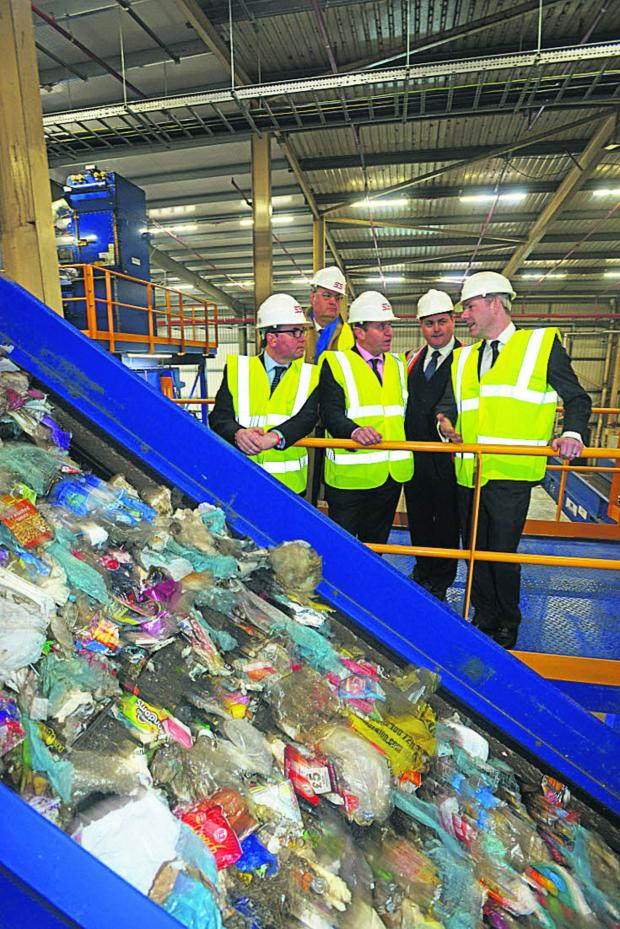 This Is Wiltshire: At the waste plant are MP Robert Buckland, Coun David Renard, Defra MP George Eustice, Shaun Magee, head of waste solutions, and MP Justin Tomlinson