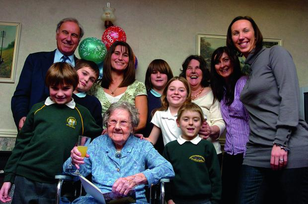 This Is Wiltshire: Eveline Steele-Davis celebrating her 100th birthday with her family