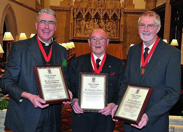 This Is Wiltshire: Canon Thomas Woodhouse, Chris Howard and Peter Sheppard, who received Civic Awards