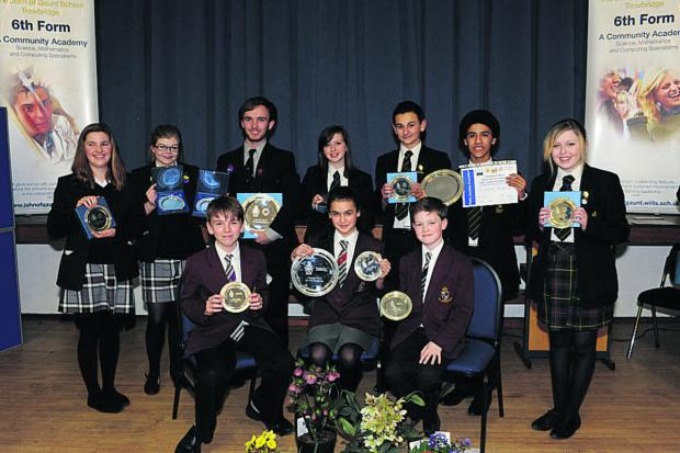 This Is Wiltshire: Seated, the team from St Augustine's College that won the Year 8 section, with Year 10 winners from The Clarendon Academy, back right, and Year 13 winners St Augustine's College                       									    Photo: Trevor Porter (48342)