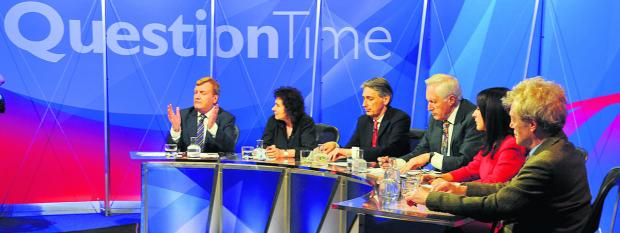 This Is Wiltshire: The Question Time panel in action at New College