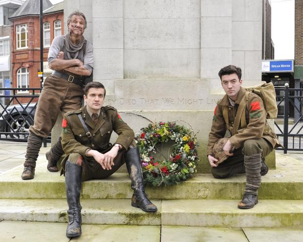 This Is Wiltshire: Cast members of Birdsong at Swindon Cenotaph. From left, Peter Duncan, George Banks and Jonny Clarke
