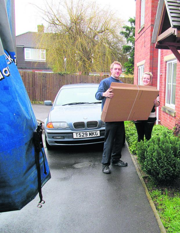 This Is Wiltshire: Matt Rose delivers the boxes to Laura Self