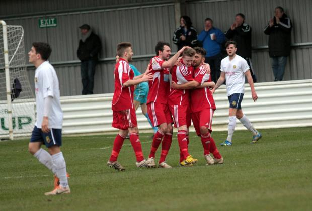 This Is Wiltshire: Swindon Supermarine's Aaron Ferris is congratulated by his teammates