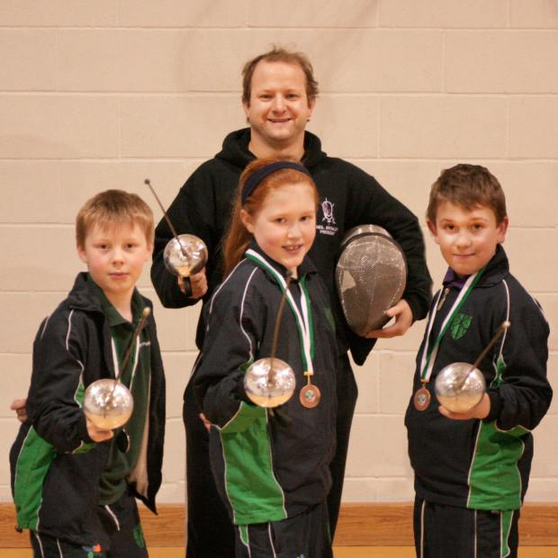 This Is Wiltshire: Coach Neil Bromley with Ethan Teale, Niamh Preston and Charlie Robbins