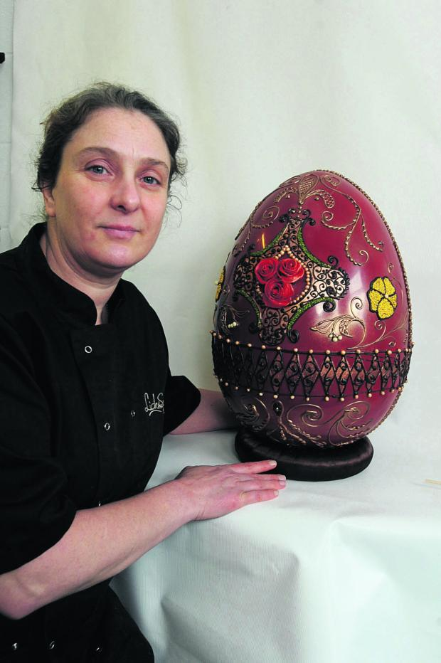 This Is Wiltshire: Diana Short with the giant egg at Lick the Spoon in Corsham