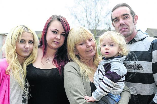 This Is Wiltshire: Chris Scott's family, from left, girlfriend, Rebecca Ball, sister Danielle Scott, mother Wendy Scott,  son Logan Scott and father Mike Scott