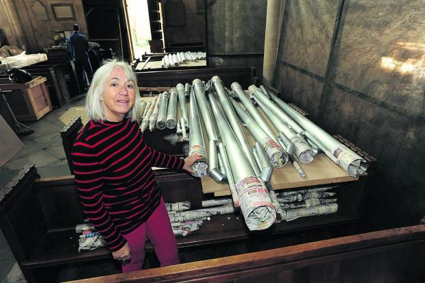 This Is Wiltshire: Anne Curtis with the newly delivered organ pipes