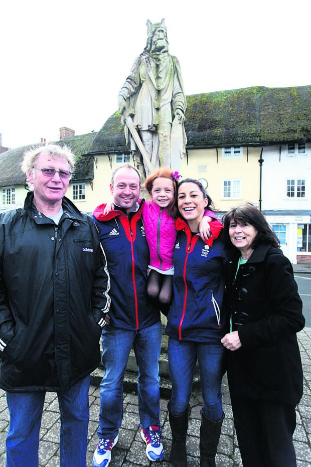 This Is Wiltshire: Shelley Rudman back in Pewsey with, from left, father Jack Rudman, fiance and fellow slider Kristan Bromley, daughter Ella and mother Josie