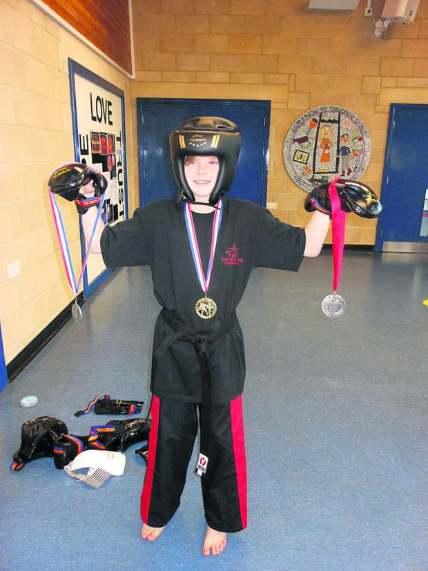 This Is Wiltshire: Lewis demonstrated Tae Kwon-Do