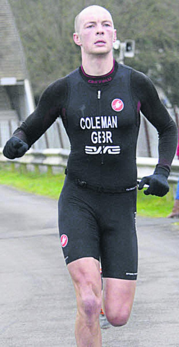This Is Wiltshire: James Coleman races in to take  the win ten seconds ahead of nearest rival Alan Murchison