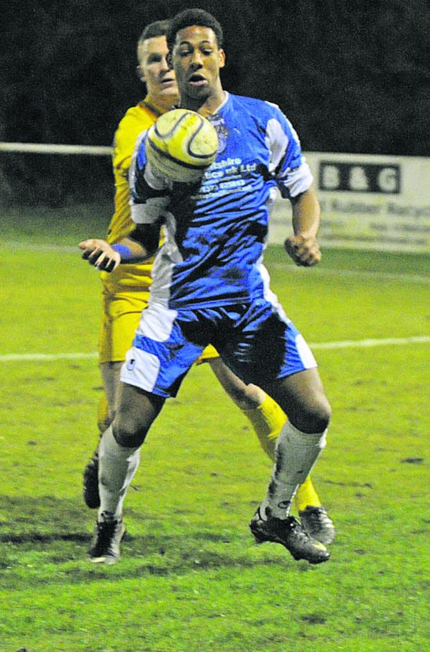 This Is Wiltshire: Bradford Town's Joe Vyner gets on the ball against Chippenham Park on Wednesday night