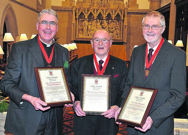 This Is Wiltshire: From left, Rev Canon Thomas Woodhouse, Chris Howard, Peter Sheppard