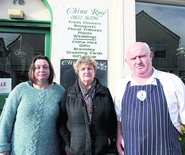 This Is Wiltshire: Angry traders – Susan Faux of Faux Arts, Marion Pearce of China Rose and Nigel Lihou of Vale of Pewsey Butchers