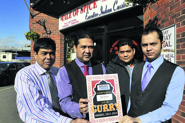 This Is Wiltshire: Tale of Spice staff, from left, managers Lutfur and Lyton Rahman and waiters Zahidur Rahman and MD Mithu