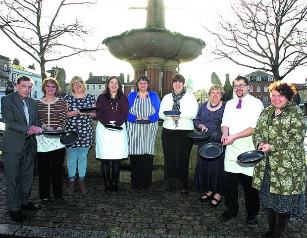 This Is Wiltshire: The Age UK team, from left, Brian Deeley, Ann Ballard, Julie Hunt, Zoe Hopkins, Jayne Funnell, Lesley Edwards, Hazel Catlett, Elliot Potter and Anne Hiscock