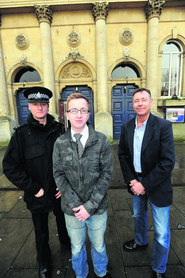 This Is Wiltshire: Inspector Matthew Armstrong with bar manager Ben Newport and Ian Matthews who runs the disco