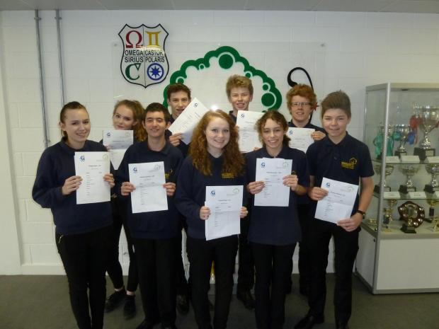 This Is Wiltshire: The school's top 10 achievers celebrate their mock results: Tom Whiffing, Joe Harris, Megan Bush, Daisey Roseveare, Caitlin Mitchell, Andrew Spencer, Sam Day, Lauren Elling, Tom Mitchell and Jojo B