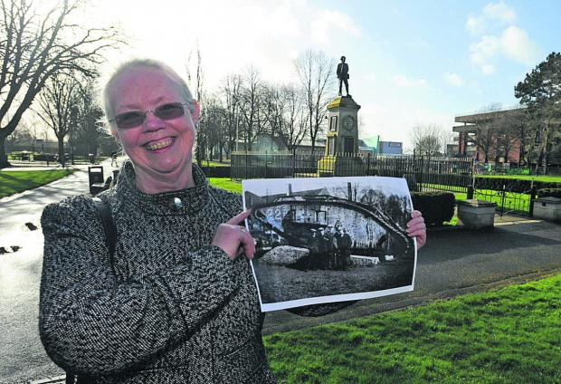 This Is Wiltshire: Sylvia Wardle in the park, where the tank was once near the war memorial