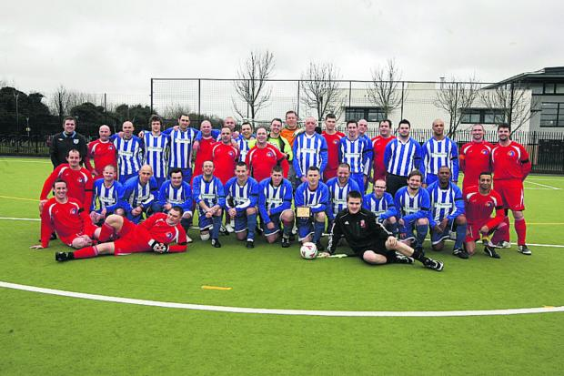 This Is Wiltshire: Thamesdown, in the blue and white, and Stagecoach teams who played a memorial match in tribute to colleague Colin Daley