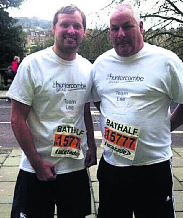 This Is Wiltshire: Lee Audis, left, and dad Toni before the Bath Half Marathon