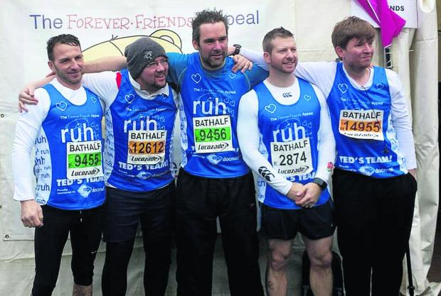This Is Wiltshire: Bath Half Marathon contestants, left to right, Wayne Bond, Will Walder, Michael Freegard, Jason King and Tom Wilmot ran for the Bath RUH forever friends appeal for a new cancer unit