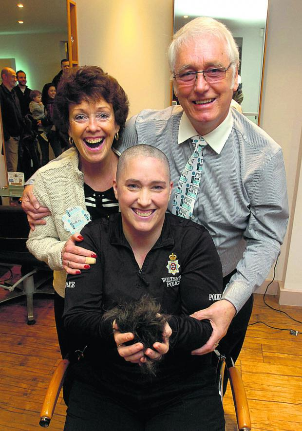 This Is Wiltshire: PC Emma Brown after her headshave for Macmiilan Cancer Support w