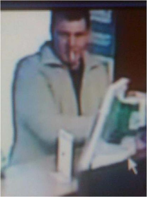 This Is Wiltshire: CCTV images have been released showing of a man that officers are keen to speak to after a charity box was stolen from a Chippenham bookmaker