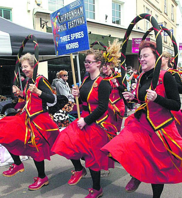 This Is Wiltshire: Three Spires Morris Dancers in action at last year's Chippenham Folk Festival