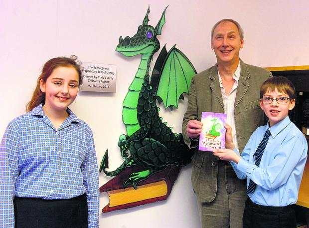 This Is Wiltshire: Author Chris d'Lacey with Lily and Duncan in the new school library