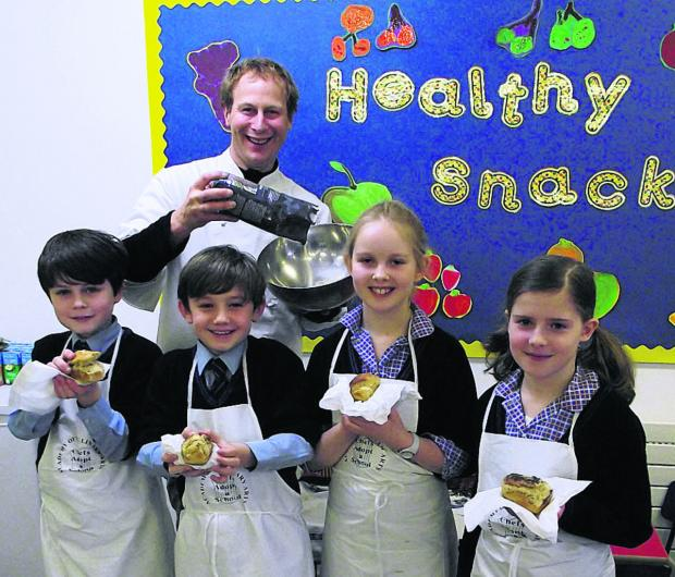 This Is Wiltshire: Chef Peter Vaughan with Year 5 pupils Henry, William, Grace and Charlotte