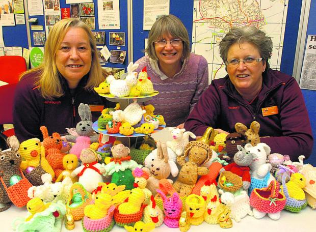 This Is Wiltshire: Diana Malling, Lynn Clark and Linda Brett get knitting for Easter to help get a bigger Scout hut