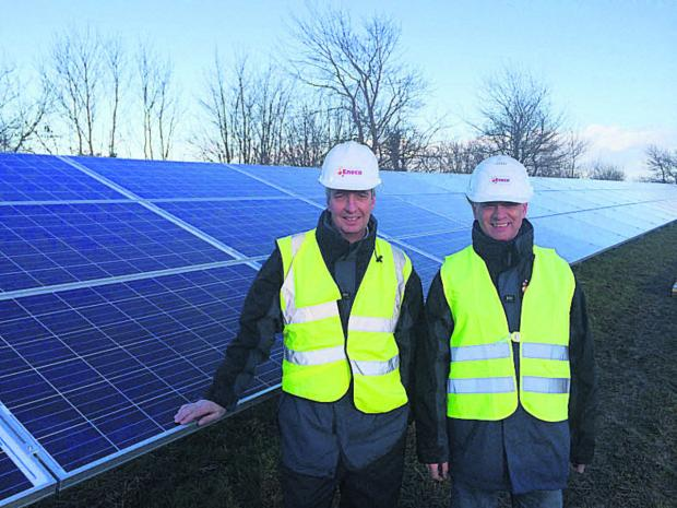 This Is Wiltshire: Guy Madgwick (UK solar director of Eneco) and Frans van de Noort (European solar director) at Sevor Farm