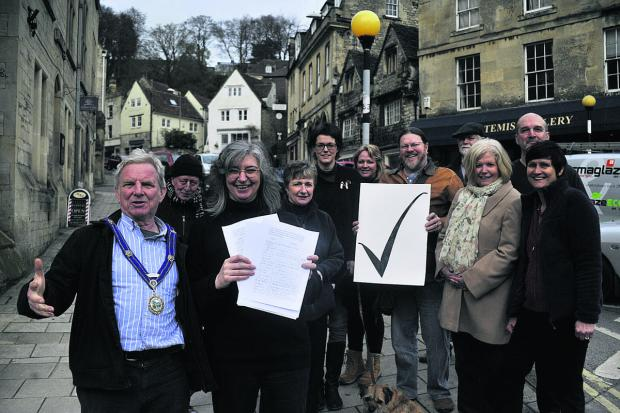 This Is Wiltshire: Bradford on Avon mayor John Potter with campaigners in favour of the HCZ plans