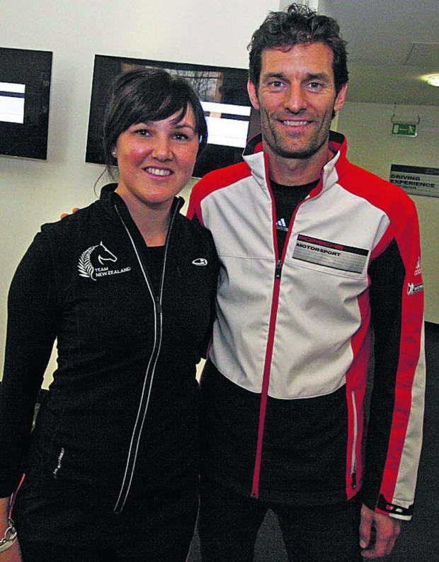 This Is Wiltshire: Milton Lilbourne eventer Lizzie Brown with F1 ace Mark Webber at the Porsche Human Performance Centre at Silverstone (Pictures: Mark Roache)