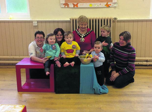 This Is Wiltshire: Tumble Tots franchisee, Debbie Bensley, Eva Hodges, Dylon Omron, mum Lisa Omron, Mayor Sylvia Gibson, James, Alfie and Wendy Powlson
