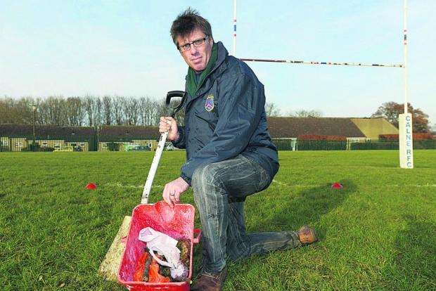 This Is Wiltshire: Dog poo has become a issue on Calne recreation ground. Pictured is David Conway 	(TK708) By THOMAS KELSEY