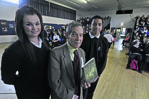 This Is Wiltshire: Holocaust survivor Rudi Oppenheimer with Matravers School students Ellie Webb and JJ Watson Photo: Glenn Phillips (49184)