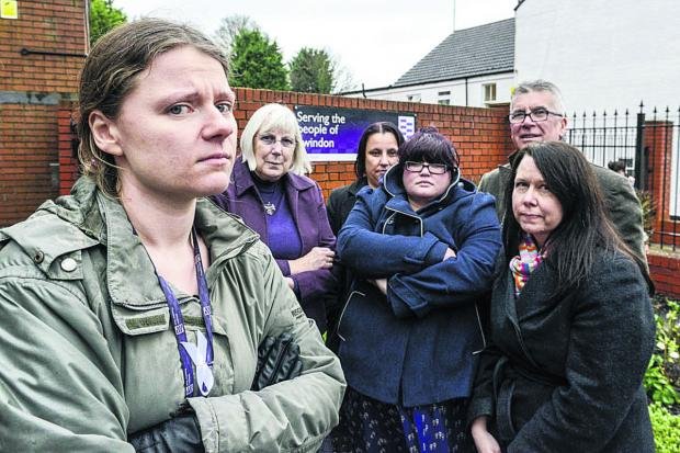 This Is Wiltshire: Probation Officers against the privatisation of parts of the service. From left Albertine Davies, of the  National Association of Probation Officers, Marie West, Sharon Drew, Michelle James, Andy O'Pray and Kirsten Fenton