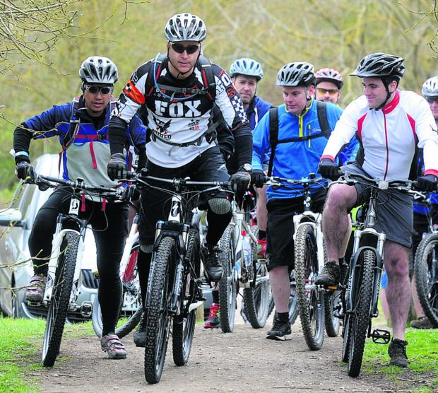 This Is Wiltshire: Wheeling into action at last year's Prospect Hospice bike ride
